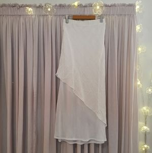 White Maxi Layered Assymetrical Skirt